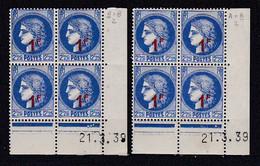 Cd536 YvT 487 Ceres Modifié 1f/2f25 Outremer 2 Cd Date 21/03/39 2ème Tirage A+B N** - 1930-1939