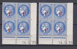Cd537 YvT 487 Ceres Modifié 1f/2f25 Outremer 2 Cd Date 14/06/39 3ème Tirage A+B N** - 1930-1939