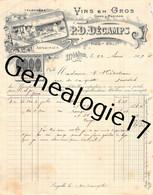 32 0289 MELAN GERS 1907 Vins Du Gers Et Madiran P. D. DECAMPS Proprietaire De Vin ARMAGNAC ARMAGNACS Chais Foudre Ciment - 1900 – 1949