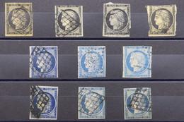 FRANCE - N° Yvert 3 Et 4 - Lot De 10 Exemplaires ( états Divers ) Pour Nuances - L 78426 - 1849-1850 Ceres