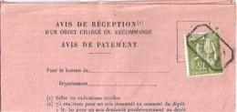 TYPE PAIX N° 284A SUR AVIS DE RECEPTION DE PARIS 77A (GRIFFE AR Pour Annulation) 1935 - 1932-39 Paix