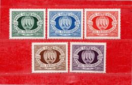 (Riz) San. MARINO ** -1977 - PRIMI FRANCOBOLLI.  Unif. 986 à 990.  MNH - Unused Stamps