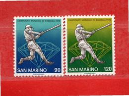 (Riz) San. MARINO ** -1978 -  BASEBALL.  Unif. 1002-1003.  MNH - Unused Stamps