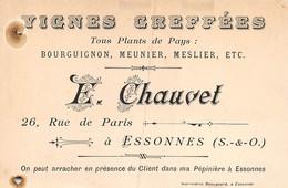 A-20-7679 :  ESSONNES.. CARTE DE VISITE. VIGNES GREFFEES. E. CHAUVET. RUE DE PARIS. - Corbeil Essonnes
