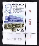 MONACO 2020 - MUSÉE ARCHÉOLOGIQUE DE MARIANA - PRINCE RAINIER III - NEUF ** - Ongebruikt