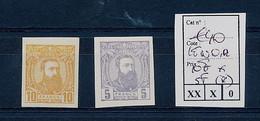 BELGIAN CONGO 1887 ISSUE 10F (LH) BUFF AND 5F (NO GUM) VIOLET IMPERFORATED LENOIR REPRINT - 1884-1894 Precursori & Leopoldo II