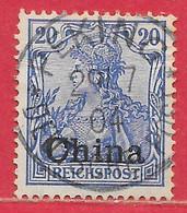 Chine Bureaux Allemands N°12 20c Bleu 1900 (PEKING 29-07-04) O - Deutsche Post In China