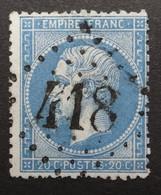 22 Obl GC 418 Belabre (35 Indre) Ind 6 ; Frappe Très Nette Et TB Centrée - 1849-1876: Klassik