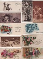 LOT DE 10 MINI CARTES DE VOEUX DE BONNE ANNEE - ECRITES DE 1932 A 1945 / CERTAINES NE SONT PAS DATEES / ENFANTS FLEURS - New Year
