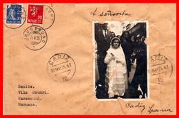 NORUEGA - PORTADA DE SOBRE ENVIADA A CADIZ - ESPAÑA CON  FOTO DE LA PERSONA SIN DIRECCION AÑO 1935 EN PLENA GUERRA CIVIL - Covers & Documents