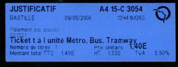 Métro - RATP - Station BASTILLE - Billet  + Justicatif De Règlement En Espèces Du 1 Mai 2006 - RARE - Europe