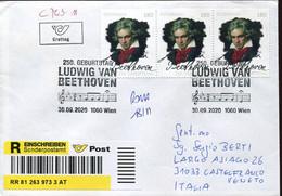 60528 Austria,fdc 30.9.2020 Wien, Circuled Registered Ludwig Van Beethoven - Muziek