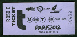 Métro - RATP - Billet De Carnet - PARIS 2012 - Europe