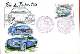 France. Carte. Fête Du Timbre 2018. Alpine Renault - Gedenkstempels