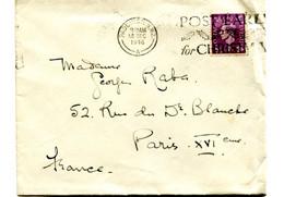 Lettre De PADDINGTON Pour Paris 1954. Flamme Avec Feuilles De Houx. - Briefe U. Dokumente
