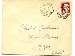 Lettre De NOUVOITOU Pour Angers 1961 -TàD Hex. De Recette Auxiliauire Rurale  Mis En Service En 1951. - 1961-....