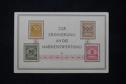 ALLEMAGNE - 4 Valeurs D'Inflation Sur Carte Commémorative Pour Rappeler La Dévaluation Du Mark - L 78523 - Cartas