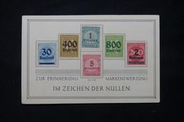 ALLEMAGNE - 6 Valeurs D'Inflation Sur Carte Commémorative Pour Rappeler La Dévaluation Du Mark - L 78526 - Cartas