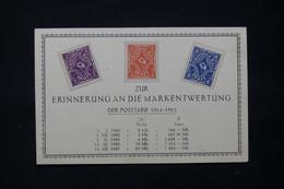 ALLEMAGNE - 3 Valeurs De L 'Inflation Sur Carte Commémorative Pour Rappeler La Dévaluation Du Mark - L 78529 - Cartas