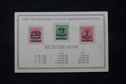ALLEMAGNE - 3 Valeurs De L 'Inflation Sur Carte Commémorative Pour Rappeler La Dévaluation Du Mark - L 78530 - Cartas