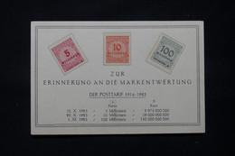 ALLEMAGNE - 3 Valeurs De L 'Inflation Sur Carte Commémorative Pour Rappeler La Dévaluation Du Mark - L 78531 - Cartas