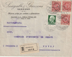 Lettre Recommandé Du 1929 De SEREGNO Milano à Vevey Vaud Suisse - Marcophilie