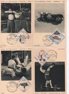 CARTE MAXIMUM MONAO JEUX OLYMPIQUES  DE TOKYO      N° YVERT ET TELLIER   654/7 ET PA 86  19624 - Cartoline Maximum