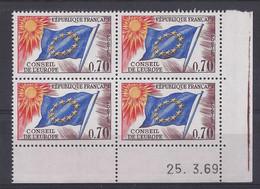 SERVICE N° 35 - Bloc De 4 COIN DATE - NEUF SANS CHARNIERE - 25/3/69 - Dienstpost