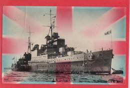NAVY NAVAL  HMS  SHEFFIELD  UNION JACK  PATRIOTIC  RP - Warships