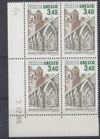 SERVICE N° 92 - Bloc De 4 COIN DATE - NEUF SANS CHARNIERE - MOSQUEE De BAGERHAT 2/12/86 - Dienstpost