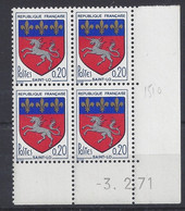 BLASON ST-LÔ N° 1510 - Bloc De 4 COIN DATE - NEUF SANS CHARNIERE - 3/2/71 - 1960-1969