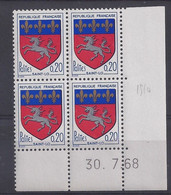 BLASON ST-LÔ N° 1510 - Bloc De 4 COIN DATE - NEUF SANS CHARNIERE - 30/7/68 - 1960-1969