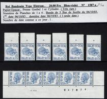 BELGIQUE - 1587 P5a Papier EPACAR - Presse Goebel 1er Cylindre Avec N° Planche 1 à 6 + Bande Bas De Feuille Du 06/10/83 - Ungebraucht