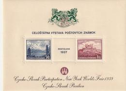 Tchécoslovaquie Bloc 1937 Surchargé Nevv York Worlds Faix 1939, Blason Vert, Avec Trace De Charniére * - Blokken & Velletjes