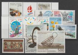 Andorre Français Année Complète 1992 Du 414A Au 424 8 Val. + 2 Trypt. ** MNH - Années Complètes