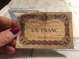 Chambre De Commerce D'Épinal  1 Franc Les Billets En Circulation Sont échangeables Contre Les Billets De Banque En Fran - Ohne Zuordnung