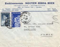 Lettre Du Viet-nam De 1961 De Saigon Pour Paris, Par Avion, 2 Timbres. - Vietnam