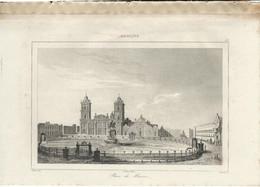 MEXIQUE PLACE DE MEXICO 1835 INCISIONE DI LEMAITRE ENGRAVING GRAVURE - Stampe & Incisioni