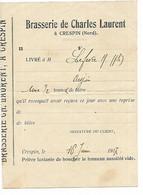 CRESPIN PRES DE VALENCIENNES 1917 BRASSERIE DE CHARLES LAURENT LIVRE 1/2 TONNE DE BIERE - 1900 – 1949