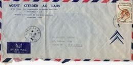 Lettre Du Laos, Pour La France,  Par Avion De 1966, D'un Agent Citroen. 1 Timbre. Bon état - Laos