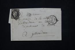 FRANCE - Lettre De Paris Pour Issoudun En 1850, Affranchissement Cérès 20ct Noir Sur Blanc - L 78578 - 1849-1876: Classic Period