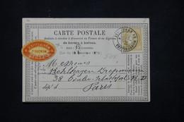FRANCE - Carte Précurseur De Montpellier ( Etiquette Commerciale )  Pour Paris En 1874, Affr. Cérès 15ct - L 78584 - Precursor Cards