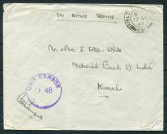 1944 GB Field Post Office 699 India - National Bank Of India, Karachi Pakistan. Unit D 48 Censor - Briefe U. Dokumente