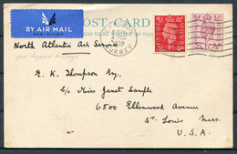 1939 GB Airmail Postcard North Atlantic Air Service, Sanderstead, Crawley - St Louis, USA Via New York. Imperial Airways - Covers & Documents