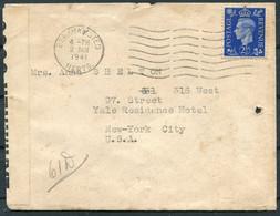1941 GB Censor Cover,Olly Stern, Pix Farm, Bourne End, Berkhampstead - Anna Shelton, West 97th Street,New York City USA - Briefe U. Dokumente