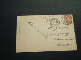 Stempel ( 498 )  Afstempeling Op Kaart  Ieper -  Noodstempel   1919 - Noodstempels (1919)