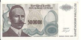 BOSNIE HERZEGOVINE 500 MILLION  DINARA 1993 VF P 155 - Bosnie-Herzegovine