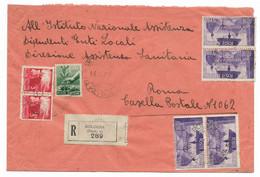 RACCOMANDATA DA BOLOGNA  A ROMA - 11.4..1947 - MISTA DEMOCRATICA + AVVENTO. - 1946-60: Marcofilie