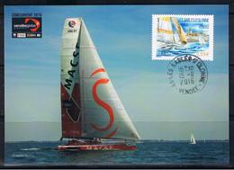 """TIMBRE 0.55€ + 0.15€, Vendée Globe 2016, VOILE """"MACSF,  Bertrand DE BROC, Les Sables D'olonne, 22/10/16. - 2010-..."""