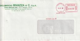 A19. Uboldo. 1990. Affrancatura Meccanica Rossa ... SALUMIFICIO RIVAZZA ... - Marcophilie - EMA (Empreintes Machines)